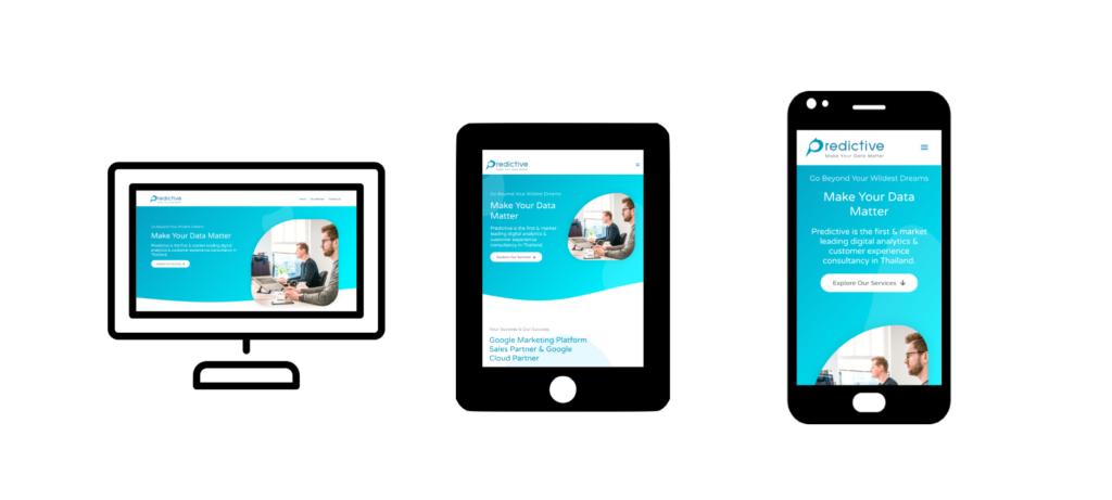 ตัวอย่างเว็บไซต์ของ predictive ที่มีการออกแบบเพื่อรองรับหน้าจอหลายแบบ