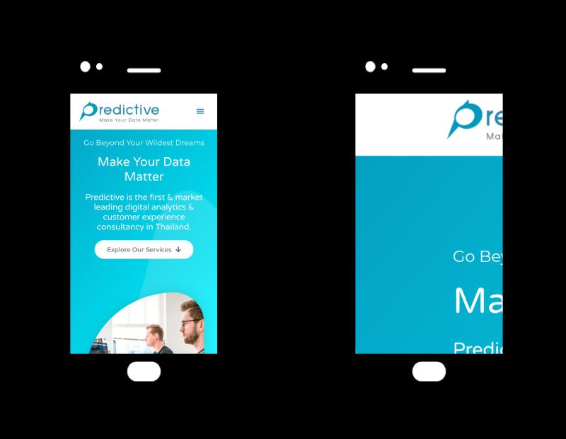 รูปภาพเปรียบเทียบระหว่างเว็บที่มีการออกแบบโดยรองรับ Responsive Design และเว็บที่ไม่มี Responsive Design