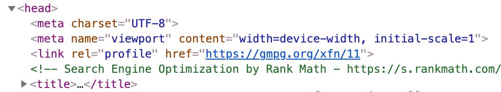 ตัวอย่างของ Viewport tag ที่อยู่ในโค้ด HTML ของเว็บไซต์