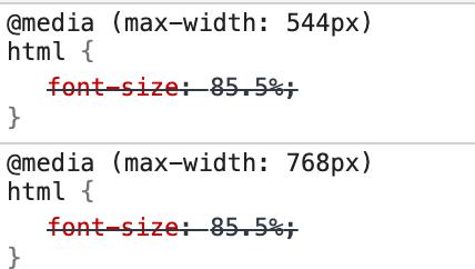ตัวอย่างของ media query ที่อยู่ในโค้ด CSS ของเว็บไซต์