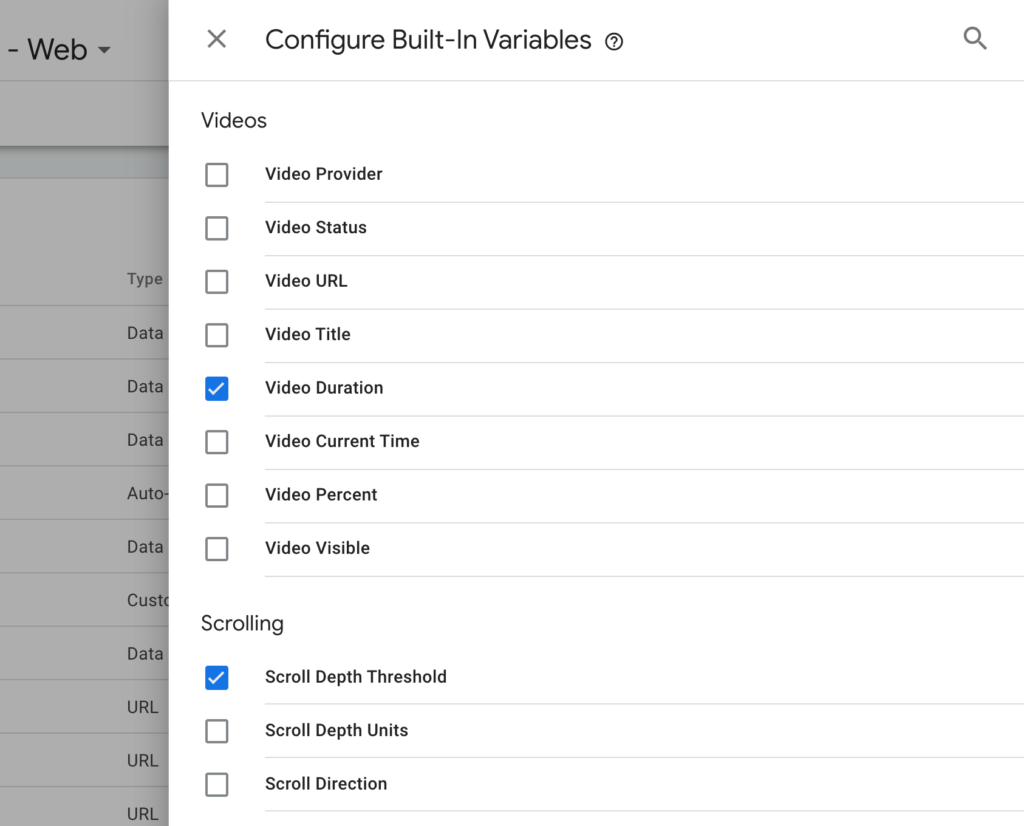 enable Scroll Depth Threshold on GTM configure Built-in variables